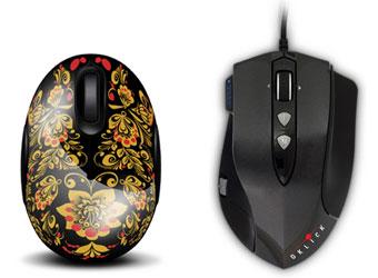 пять геймерских мышек Oklick Hunter и пять мышек, расписанных под хохлому Oklick Hohloma 535 XSW